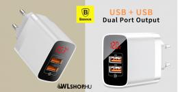 Baseus Mirror Lake hálózati töltő 2USB QC 3.0 18W kijelzős gyors töltő - Fehér