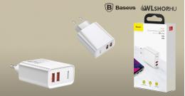 Baseus Speed Dual USB QC3.0 30W hálózati töltő - fehér