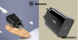 Baseus USB-C hálózati gyorstöltő 18W 3A PD QC 3.0 - Fekete