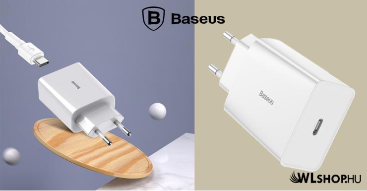 Baseus Mini USB-C PD hálózati gyorstöltő QC 3.0 18W 3A - Fehér