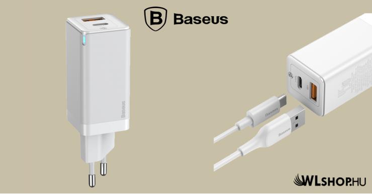 Baseus GaN2 hálózati gyorstöltő 45W + 1m Type-C (USB-C) kábel 60W - Fehér