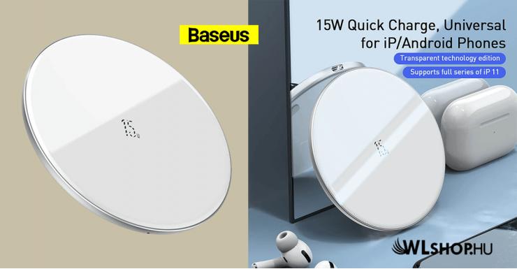 Baseus vezeték nélküli gyors töltő Qi 15W - Fehér