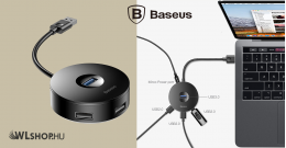 Baseus HUB adapter USB 3.0 - 4xUSB 15 cm-es kábellel- Fekete