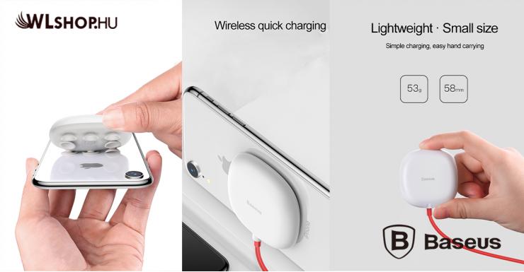 Baseus tapadókorongos vezeték nélküli wireless gyorstöltő - Fehér