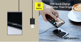 Baseus ultravékony Qi 15W vezeték nélküli töltő - Fekete