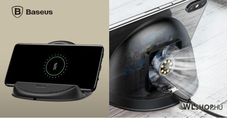 Baseus szilikon alapú vezeték nélküli gyorstöltő hűtőventillátorral és tartóval - Fekete