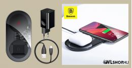 Baseus Simple 2in1 vezeték nélküli Qi töltő okostelefonokhoz és AirPods-hoz + fali töltő - Fekete