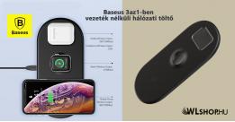 Baseus Smart 3in1 Apple Watch - Telefon - Airpods vezeték nélküli töltő - Fekete