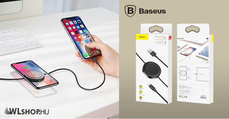 Baseus Wireless + Lighting töltő 5W 5V/3A - Fekete