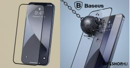 Baseus iPhone 12 Mini 0.23 mm, teljes felületre, lekerekített edzett üveg, törés álló szélek (2db/cs.) - Fekete