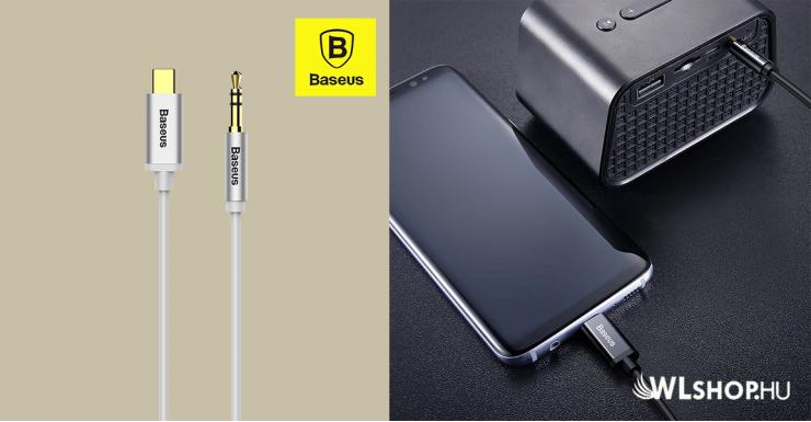 Baseus audio kábel USB-C / 3,5mm jack 1,2m Yiven M01 – Arany/Fehér