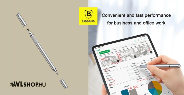 Baseus Golden kétoldalas kapacitív ceruza + gél toll - Ezüst