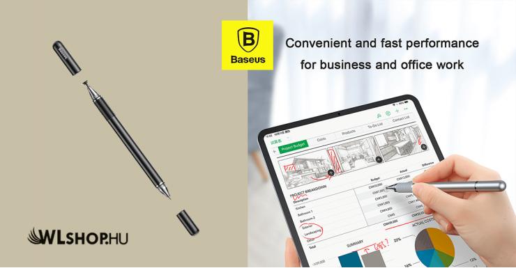 Baseus Golden kétoldalas kapacitív ceruza + gél toll - Fekete