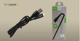 Golf iPhone adat/töltőkábel 3A 1méteres - Fekete