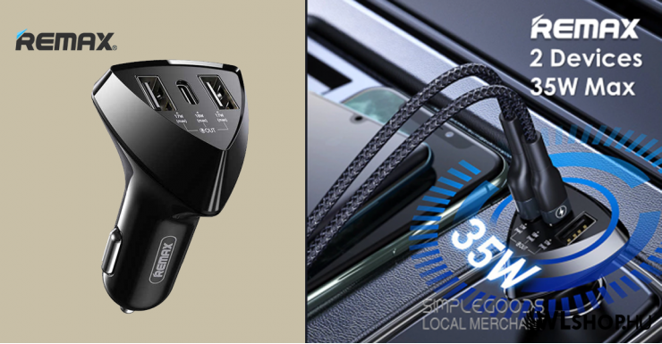 Autós töltő 2USB/USB-C QC-PD 35W RCC214 Aliens Pro Remax - Fekete