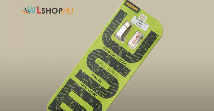 Remax MicroUSB - USB Type-C adapter - Ezüst