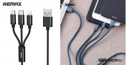 iPhone - Micro USB - USB-C gyors töltőkábel – 3 az 1-ben Remax - Fekete