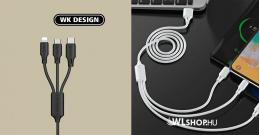 iPhone - Micro USB - USB-C gyors töltőkábel – 3 az 1-ben WK - Fekete
