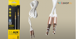 Remax 3.5 mm Aux audio kábel RL-L200 - fehér & arany