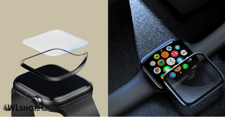 38mm Apple Watch 1/2/3 teljes képernyős kijelzővédő üveg - Fekete