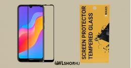 Huawei Y6/2019 5D teljes felületen tapadó kijelzővédő üveglap - Fekete