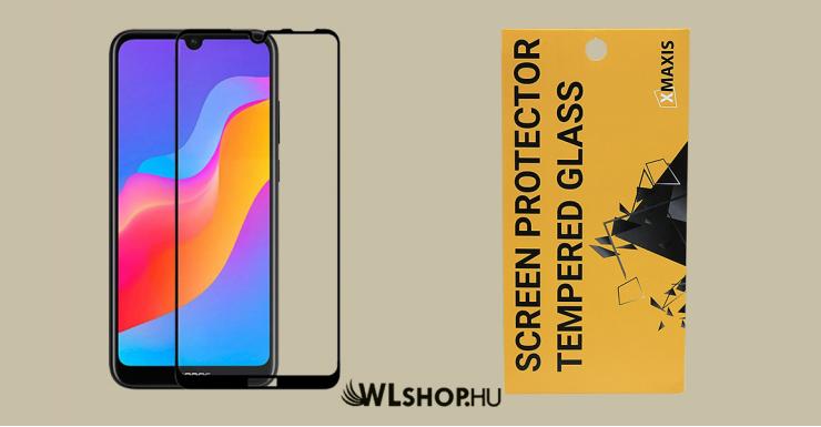 Huawei Y7/2019 5D teljes felületen tapadó kijelzővédő üveglap - Fekete
