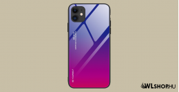 iPhone 12 Pro MAX Gradient 9H üveghátlapú tok szilikon kerettel - Pink/Lila