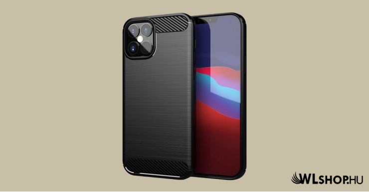 iPhone 12/ 12 Pro szénszál mintás TPU tok - Fekete