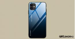 iPhone 12 Pro MAX Gradient 9H üveghátlapú tok szilikon kerettel - Kék/Fekete