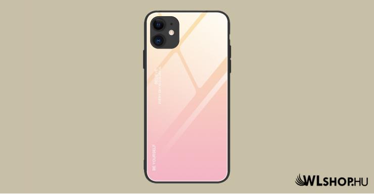 iPhone 12/ 12 Pro Gradient 9H üveghátlapú tok szilikon kerettel - Pink