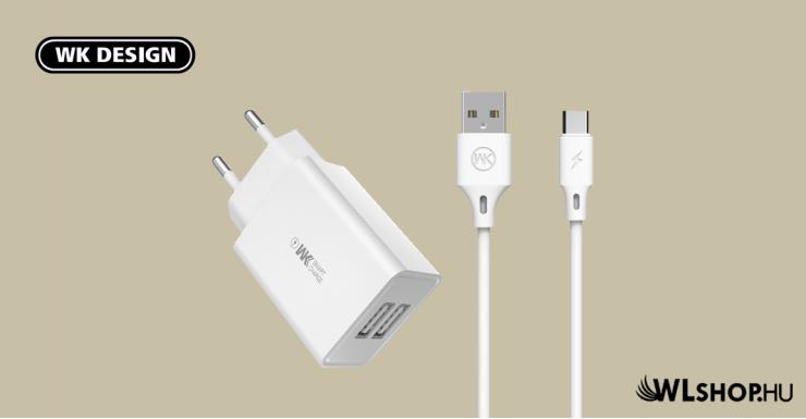 Hálózati töltő 2USB 2A USB-C kábellel WP-U56a WK - Fehér