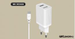 Hálózati töltő 2USB 2,1A USB-C kábellel WP-U79a WK - Fehér