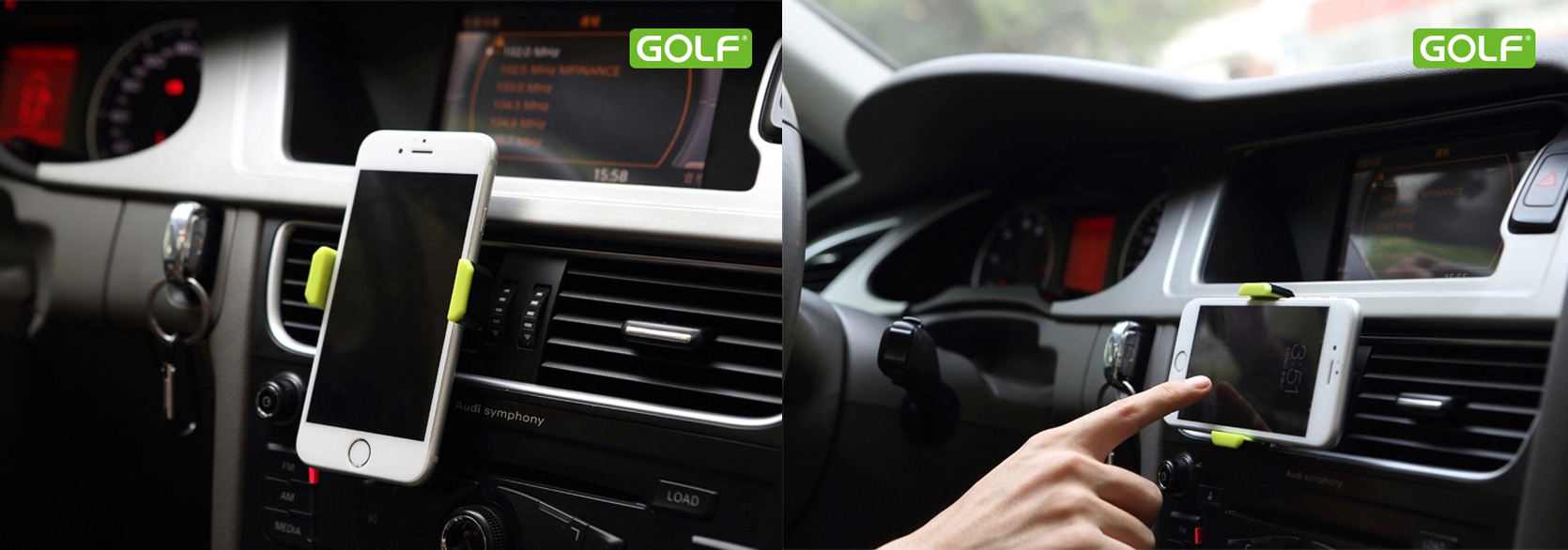 Golf autós telefontartó szellőzőrácsra - univerzális - 360°os