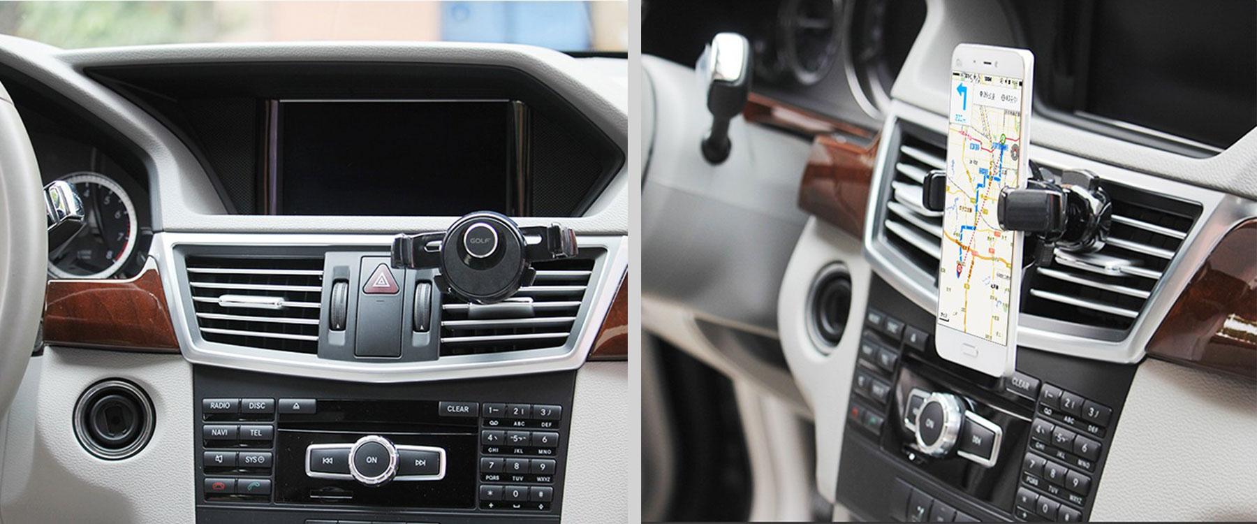 Golf autós telefontartó szellőzőrácsra univerzális - fekete